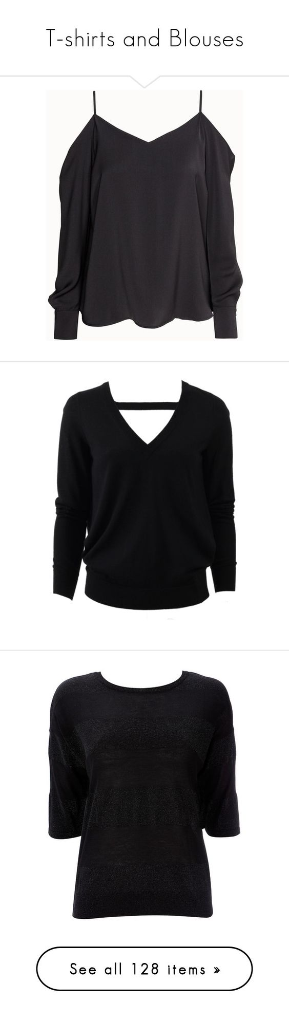 """T-shirts and Blouses"" by esther-rosa ❤ liked on Polyvore featuring tops, blouses, shirts, black, long black shirt, long sleeve shirts, long sleeve tops, off shoulder blouse, black off the shoulder top and sweaters"