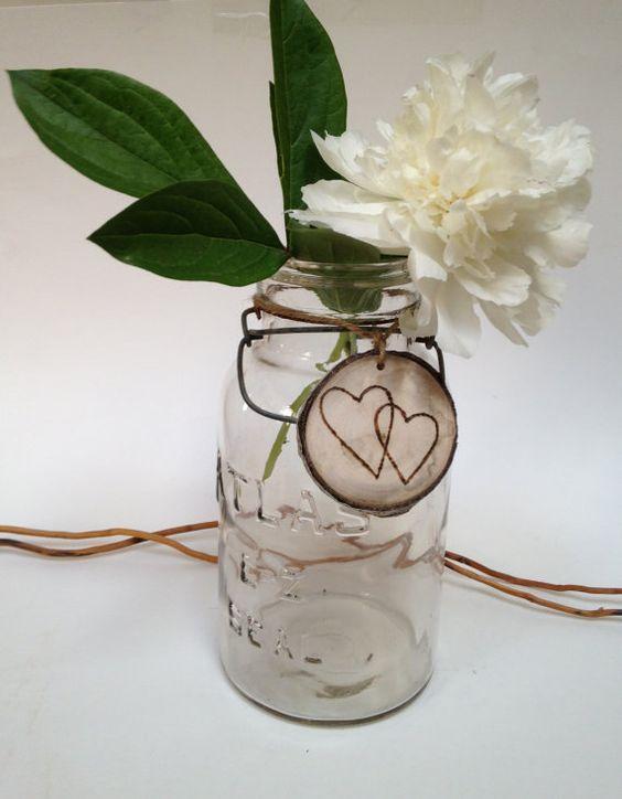 Wedding Centerpiece, Vintage Vase, Atlas Mason Jar, Tree Slice Charm, Floral Vase,  Abstract Tree Charm,  Aspen Keepsake Gift, Shabby Chic