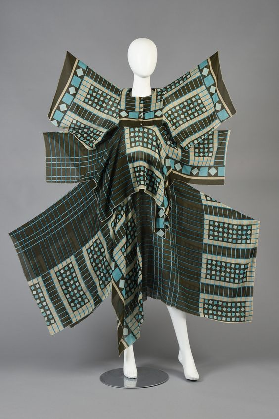 70s David Silverman Graphic 2-Pc Gauze Ensemble   From a collection of rare vintage suits, outfits and ensembles at https://www.1stdibs.com/fashion/clothing/suits-outfits-ensembles/
