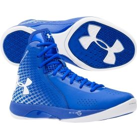 blue and white under armour basketball shoes