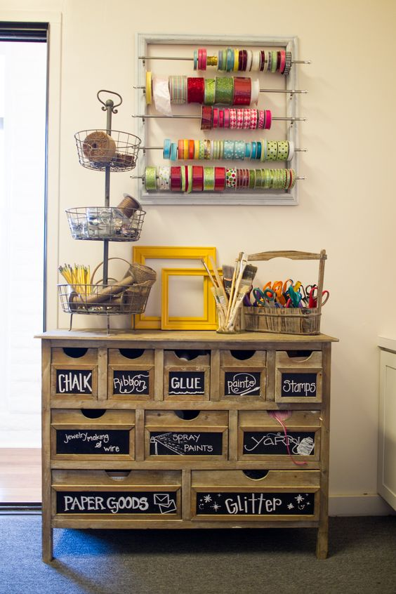 craft corner // drawers with chalkboard labels + hanging ribbon organizer: