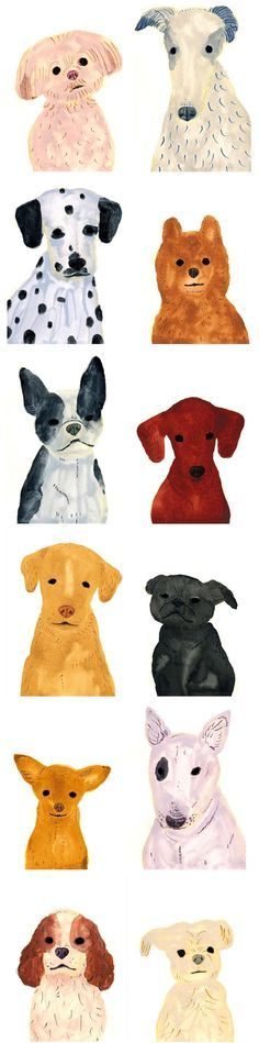 We were so excited to find these dog portraits by Itsuko Suzuki.  There's a pup for everyone here.