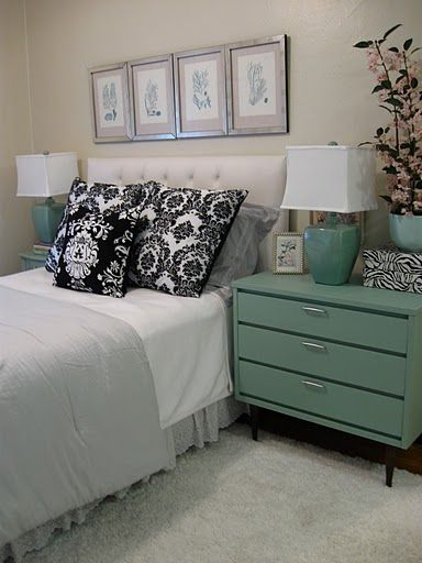 The Glam Lamb: Minty fresh bedroom & mid-century modern nightstands