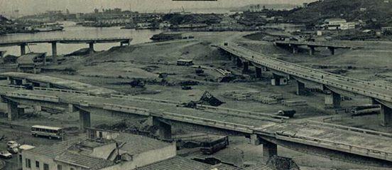 Construção dos acessos da ponte, 1973