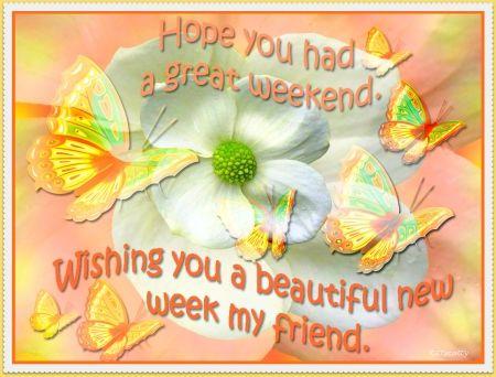 Hope you had a great weekend, Wishing you a beautiful week my friend, day greeting: