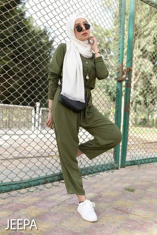Olive jumpsuit hijab-Spring breathy hijab outfits – Just Trendy Girls