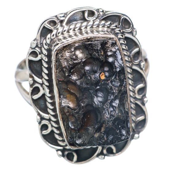 Tektite 925 Sterling Silver Ring Size 6.25 RING689880