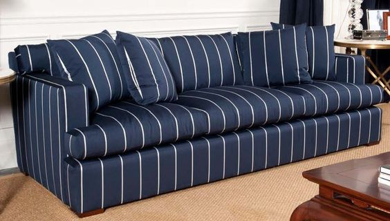 Ralph Lauren One Fifth Sofa  We love the navy blue with stripe! It comes with four 22 X 22 pillows! A classic!  http://pacificheightsplace.com/ralaonefiso.html