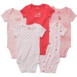 Carters Baby Girls 5-Pack S/S Bodysuits - Pink/Poppy - 12 Months