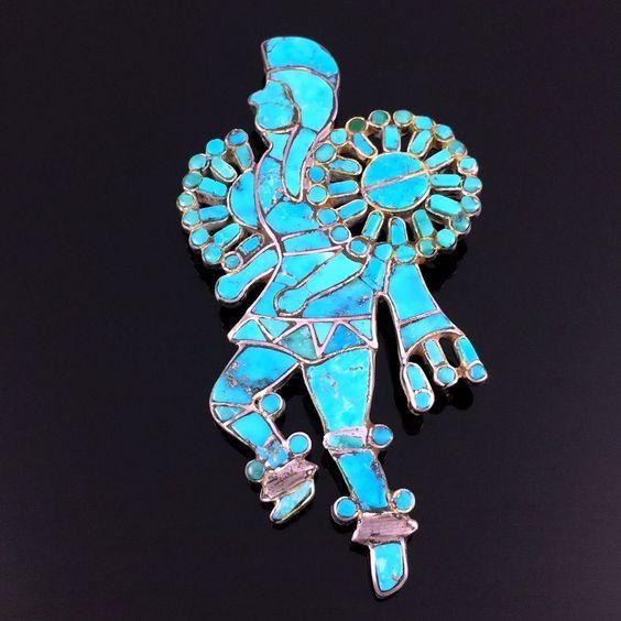 1950s 1960s Zuni Silver Turquoise Mosaic Inlay pow WOW Dancer Pin Brooch | eBay