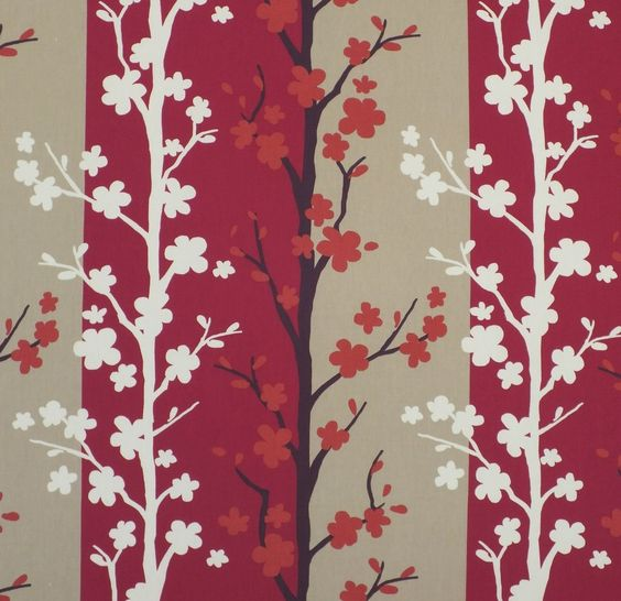 Pink panelled vine drapery fabric - Blomma Summer by Charles ...