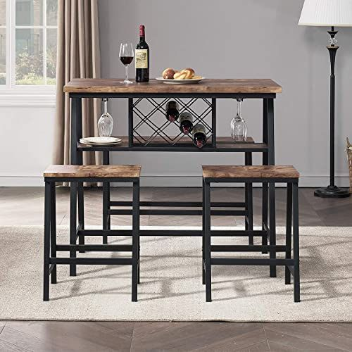 New O K Furniture 4 Piece Counter Height Dining Room Table Set Bar Table One Bench 2 Stools Industrial Table Wine Rack Kitchen Counter Small Space Table In 2020 Dining Room Table