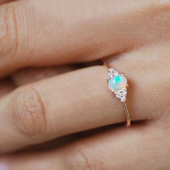 opal engagement ring opal ring opal ring gold cluster