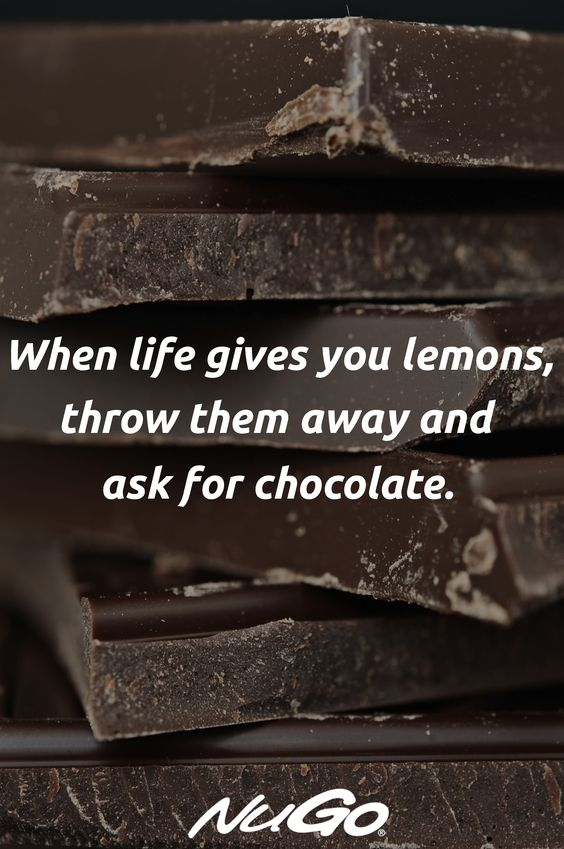 When life gives you lemons, throw them away and ask for chocolate! #quotes #chocolate