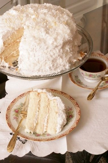 Lady Baltimore Cake - coconut with an orange marmalade and Grand Marnier filling