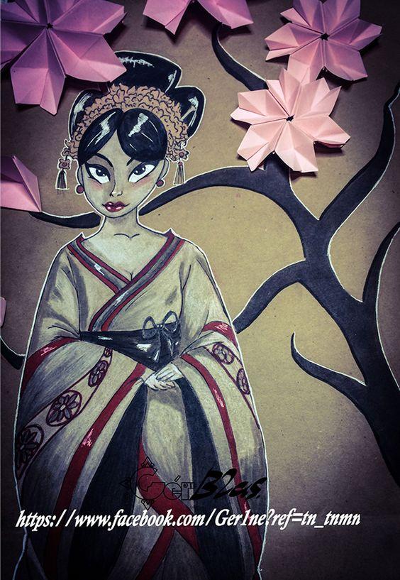Geisha hecha sobre papel craf, con colores y rotuladores.
