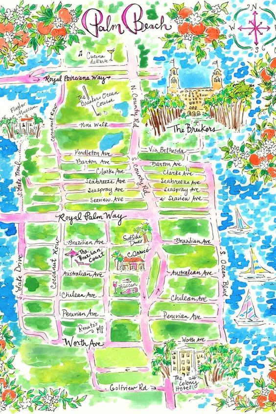 Lilly Pulitzer Palm Beach Map Illustration Palm Beach Style
