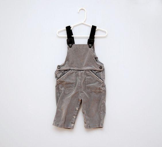 Vintage grey/black corduroy toddler overalls.