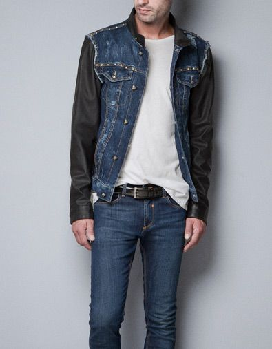 Zara jean jacket with leather sleeves