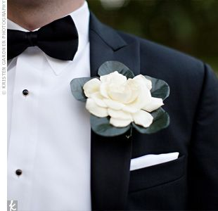 White Gardenia Boutonniere    This looks too much like a badge, but perhaps something smaller?