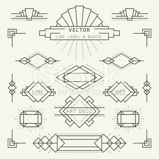 Art Deco Style Line And Geometric Labels And Badges Monochrome Royalty Free Stock Vector Art Art Deco Logo Art Deco Font Bullet Journal Art