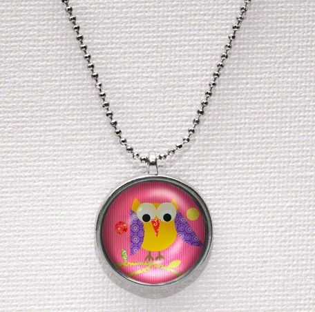 """Mod Owl Pink"" girl's necklace by Rachel Taylor for Oopsy daisy, Fine Art for Kids $19"