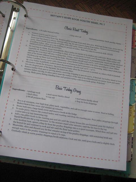 Organized recipe binder, including templates. Via From Mizzou to Missoula