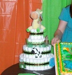 Diaper Cake - opens and gifts inside