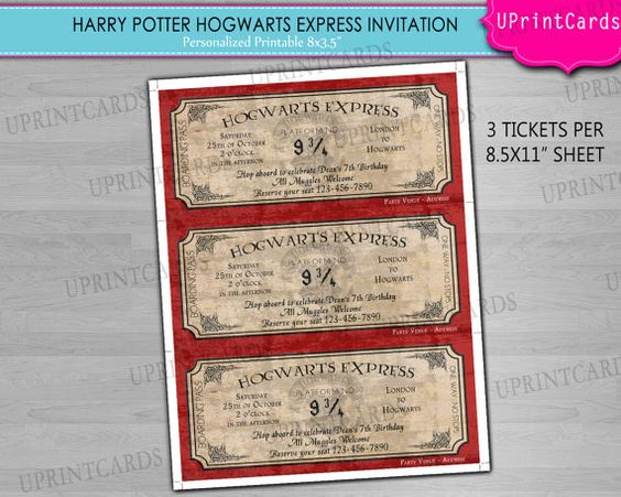 DIY PRINTABLE - Hogwarts Express - Harry Potter Ticket Birthday - invitation ticket template