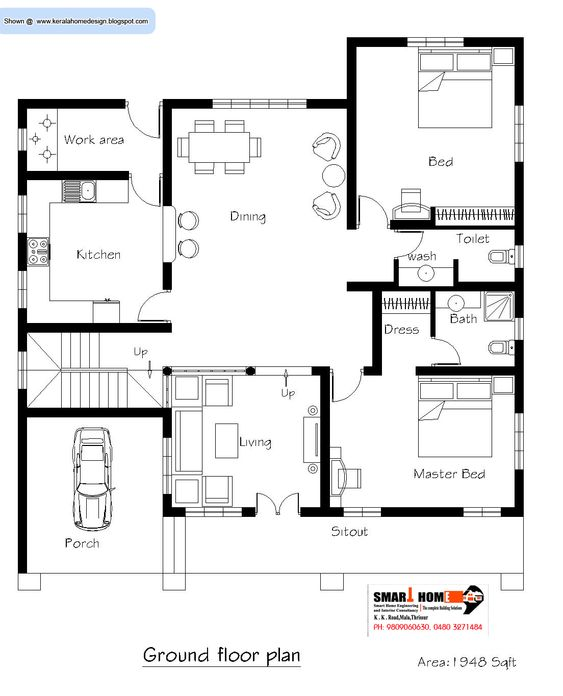Kerala Home Plan And Elevation 2811 Sq Ft Kerala Martha Indian House Plans Kerala House Design Home Design Floor Plans