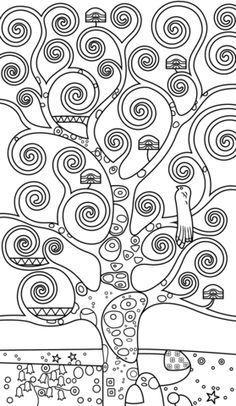 Tree Of Life By Gustav Klimt Coloring Page Dipinti Di Albero