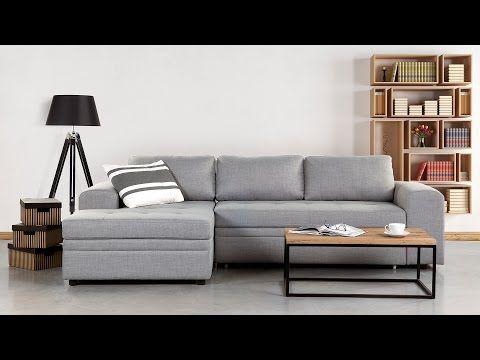 Sofá esquinero – Sofá cama Tapizado – Chaise longue – Gris claro