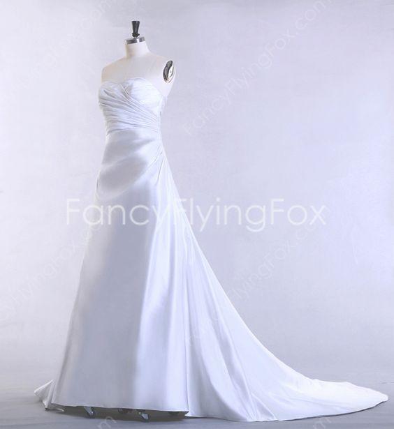 Dazzling Shallow Sweetheart Neckline A-line Full length Simple Satin Wedding Dresses Top Corset at fancyflyingfox.com