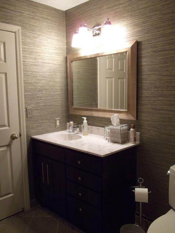 vinyl grasscloth wallpaper in my guest bathroom