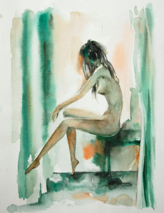 Original Watercolor Painting. Nude Woman Figurative by CanotStop, $92.00