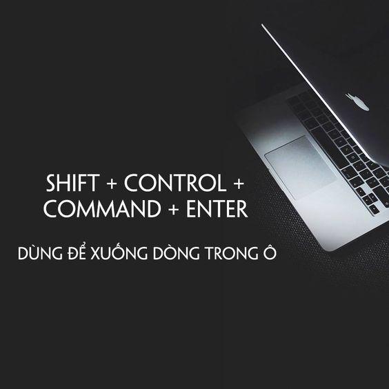 Bộ phím tắt excel cơ bản dành cho macbook