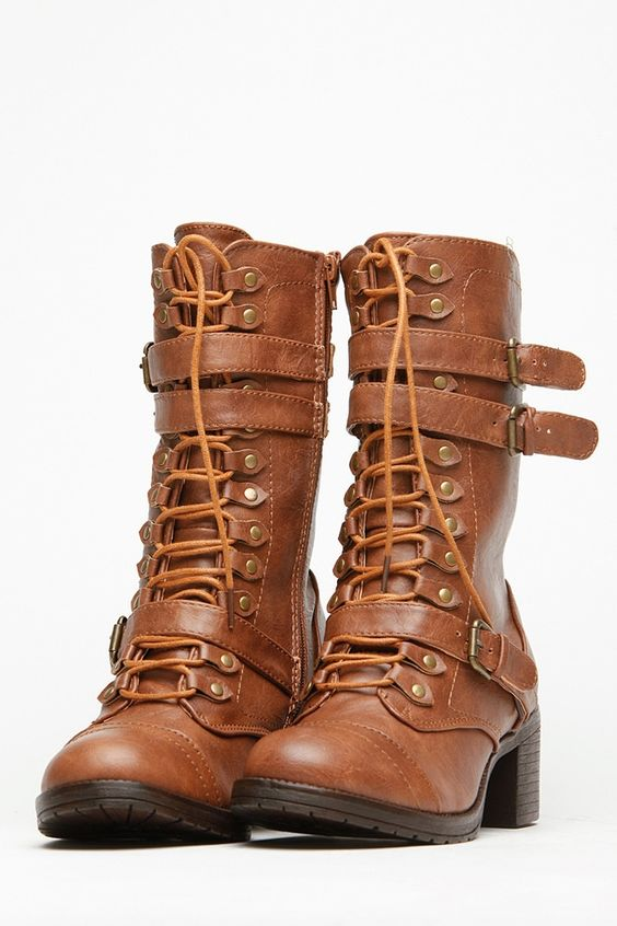 Bamboo Chunky Mid Calf Boots