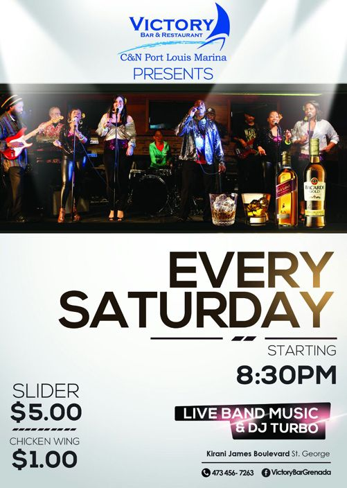 LIVE BAND Music EVERY SATURDAY @ C&N Port Louis Marina Victory Bar Please Share