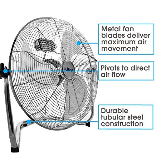 Futura High Velocity Floor Fan Large 20 Inch 50cm 110w Max Power Chrome Fan Adjustable Heavy Duty 3 Speed Floor Standing Cooling Fan Portable Ideal For The Gym Hydroponic Durable Tubular Steel