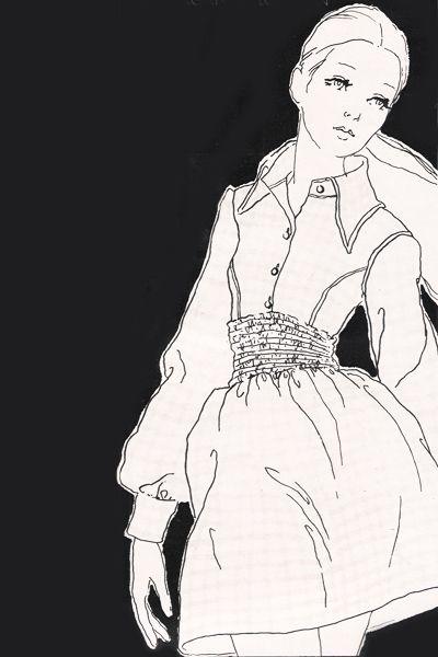 justseventeen: abril de 1968.  No es una camisa orgullosa que brota en todas las cosas maravillosas que una camisa puede ser.  La camisa del Cuerpo guinga, adaptado a su propia falda Dirndle. ~ Morgan de Londres