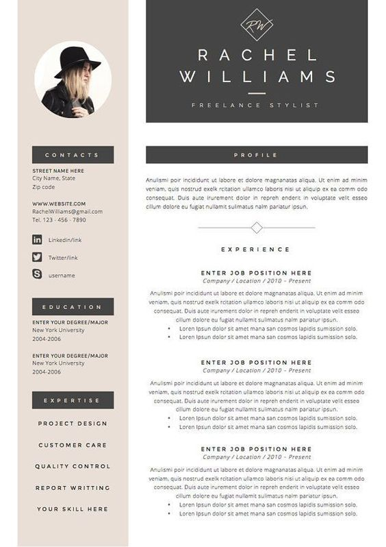 4 Page Resume Cv Template Cover Letter For Ms Word Instant Digital Download The Sultry Desain Resume Surat Pengantar Cv Kreatif
