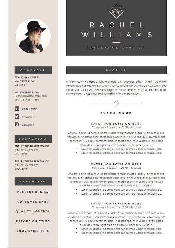 4 Page Resume Cv Template Cover Letter For Ms Word Instant Digital Download The Sultry Desain Resume Surat Pengantar Cv Kreatif