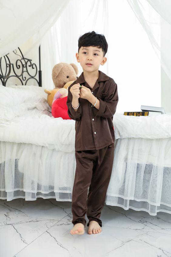 Classic Silk Pajamas for Boys-Chocolate