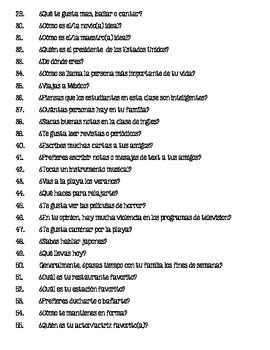 Spanish Oral Practice 42
