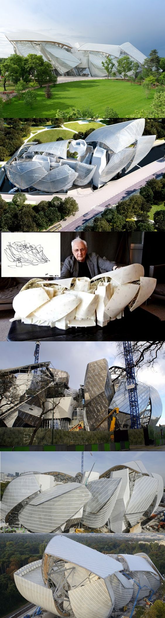 Frank Gehry's arts centre for a cultural foundation established by fashion brand Louis Vuitton, Jardin d'Acclimatation, Paris.