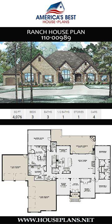 House Plan 110 00989 European Plan 4 076 Square Feet 3 Bedrooms 3 5 Bathrooms Garage House Plans Floor Plans Ranch Ranch House Plan