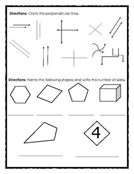 FREE Math Review Angles, Shapes and Perpendicular Lines