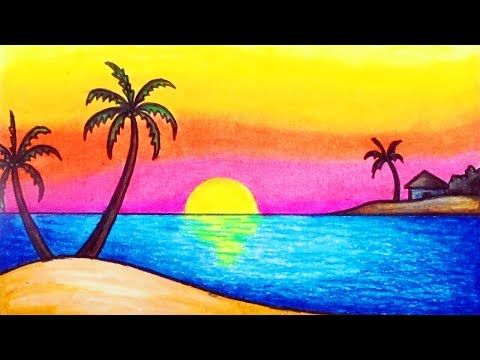 How To Draw Simple Scenery For Kids Drawing Sunset Scenery