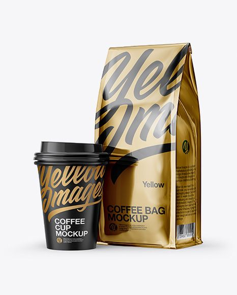Download Metallic Bag With Coffee Cup Mockup Half Side View In Packaging Mockups On Yellow Images Object Mockups Mockup Free Psd Mockup Psd Mockup