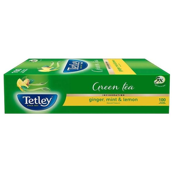 Tetley Green Tea, Ginger, Mint, and Lemon